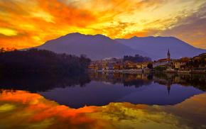 city, nature, sunset, lake, reflection
