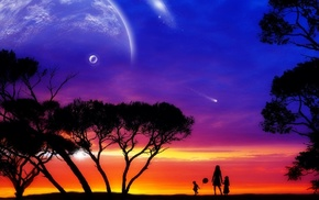 planets, fantasy, people, children, sunset