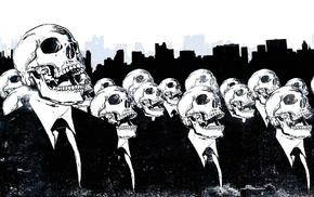 monochrome, artwork, Alex Cherry, suits, skull