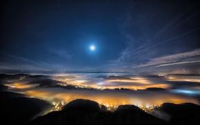 moon, cities, Alps, beautiful, city
