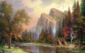 stunner, nature, river, mountain, painting