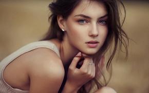 girl outdoors, girl, face, brunette, Vika Levina