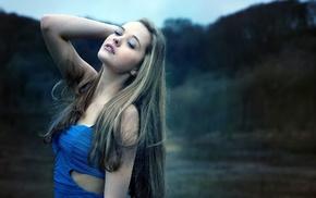 девушка, длинные волосы, глубина резкости, брюнетка, платье