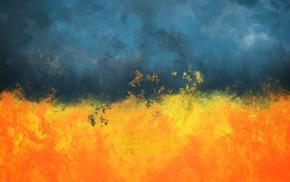 огонь, абстрактные, Украина, картина, дым