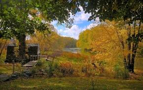 лес, осень, домик, небо, речка