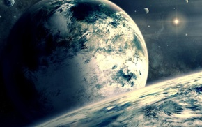 звезды, планета, космический арт