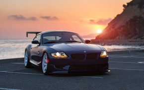 Sun, sunset, parking, ocean, BMW