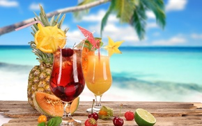 тропики, пальма, вкусно, лето, фрукты, коктейль