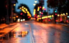 puddle, bokeh, road, lights