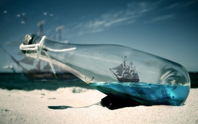 sailing ship, thread, macro, bottles, water, beach