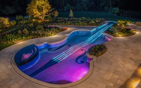 swimming pool, design, violin