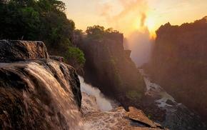 природа, лес, водопад, вода