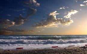 песок, закат, пляж, природа, прибой, волна