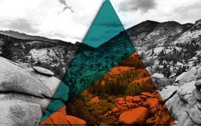 selective coloring, triangle, nature, Illuminati, polyscape