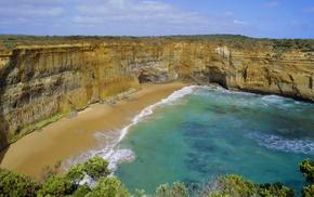 деревья, пена, пляж, море, природа, скалы