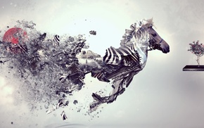 Desktopography, running, zebras, simple background, digital art