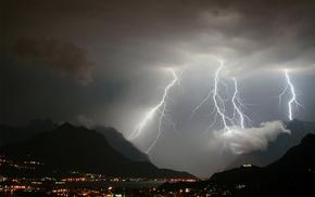 mountain, lightning, nature, city, lights