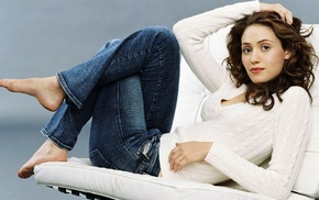barefoot, sweater, Emmy Rossum, actress, brunette, lying on back