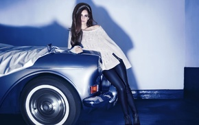 black pants, heels, Lana Del Rey, sweater, brunette