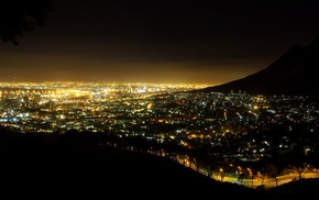 lights, cityscape, South Africa, night