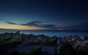 камни, берег, звезды, South Africa, океан, рассвет