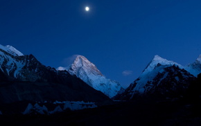 moon, sky, mountain, nature, night