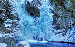 stones, winter, waterfall, Germany, lake