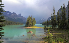 cloudy, lake, forest, mountain, nature