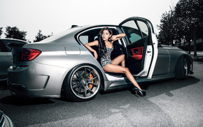 cars, brunette, BMW, legs, auto