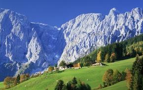 снег, горы, лес, природа, небо, трава