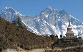 вершина, природа, люди, красота, тропинка, храм