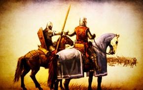 medieval, artwork, horse, knights, spear, battle