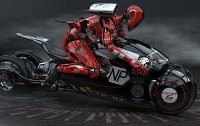 robot, motorcycle, 3D