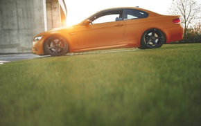 car, sunset, orange, blurred, BMW E92, BMW