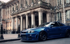 архитектура, синие машины, машина