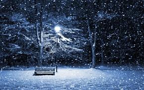 природа, снег, лес, деревья