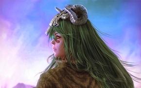 Nelliel Tu Odelschwanck, anime, girl, artwork, green hair, Bleach