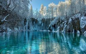 winter, lake, snow, trees