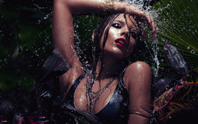 brunette, lips, water, makeup, splash