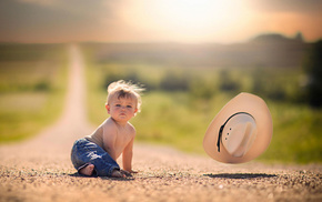 road, child, nature, positive, hat