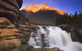 Canada, mountain, sky, stunner, waterfall