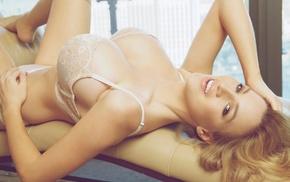 posing, Jordan Carver, lying down, boobs, blonde
