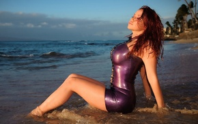 beach, latex, red hair, girl, posing