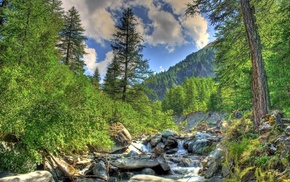 river, Alps, sky, nature, creek