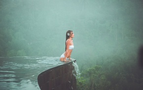 mist, swimming pool, water, photo, tropics, nature, girls, girl, forest