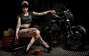 girl, tattoo, pose, girls, motorcycle