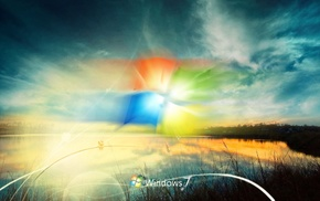 nature, sunset, Windows 7, photoshop, sky