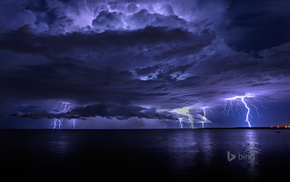 stunner, sea, clouds, ocean, lightning