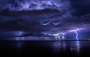 stunner, sea, clouds, ocean, lightning