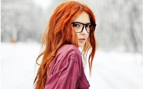 winter, glasses, girl, lips, girls